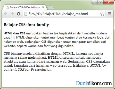 Contoh Property Font-family