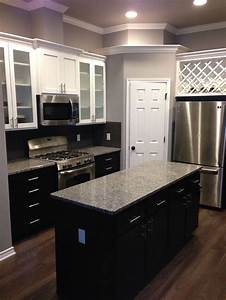 White, Upper, Cabinets, With, Espresso, Lower, Cabinets, Love, The, Contrast, Love, Our, New, House