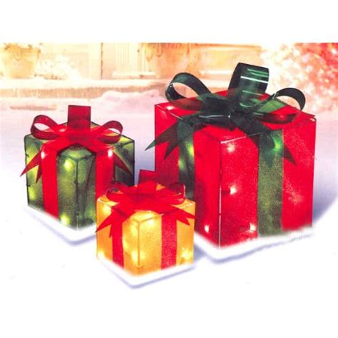 piece glistening gift box lighted christmas yard art