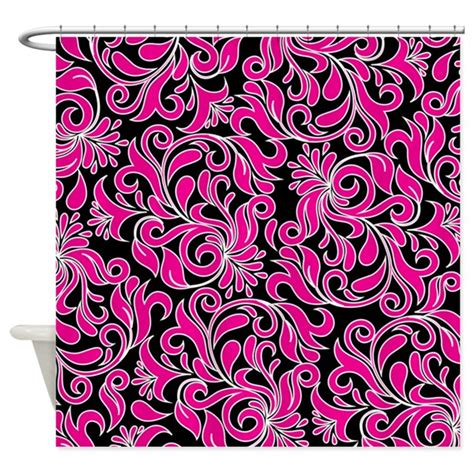 black and pink curtains black pink and white damask shower curtain by beautifulbed