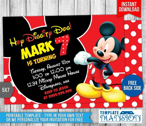 mickey mouse birthday invitation   templatemansion