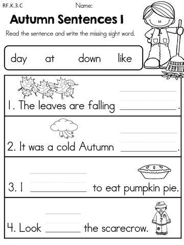 Autumn Kindergarten No Prep Language Arts Worksheets  United Teaching Products Pinterest