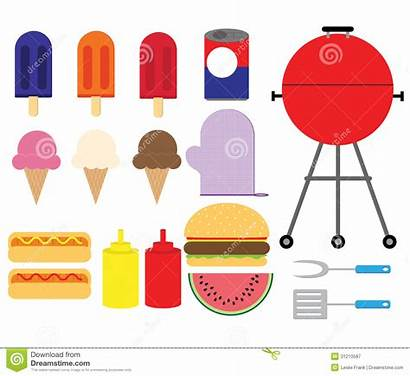 Bbq Summer Items Clipart Barbecue Illustration Vector