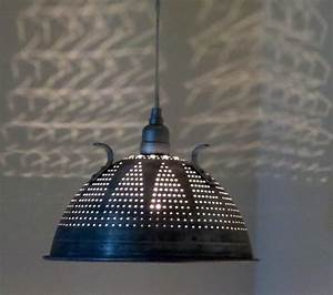 Industrial lace colander pendant light plug in or hard wire