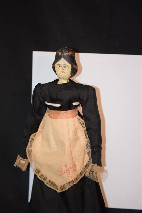 antique doll wood carved pegged jointed hitty fancy hair