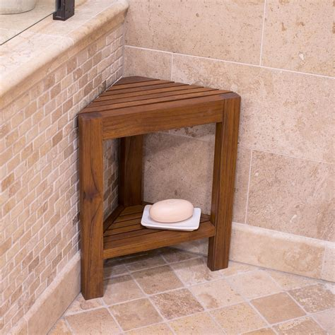 belham living corner teak shower bench  shelf