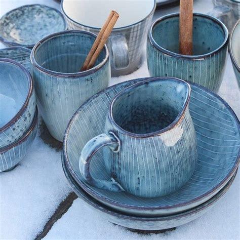 Keramik Geschirr Landhausstil by Broste Copenhagen Nordic Stent 248 J Blue Geschirr