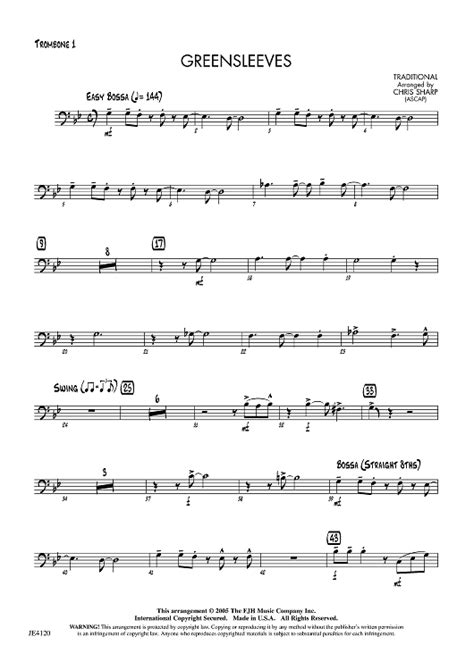 """We have something for everyone from beginners to experienced players. Buy """"Greensleeves - Trombone 1"""" Sheet Music for Jazz Ensemble"""