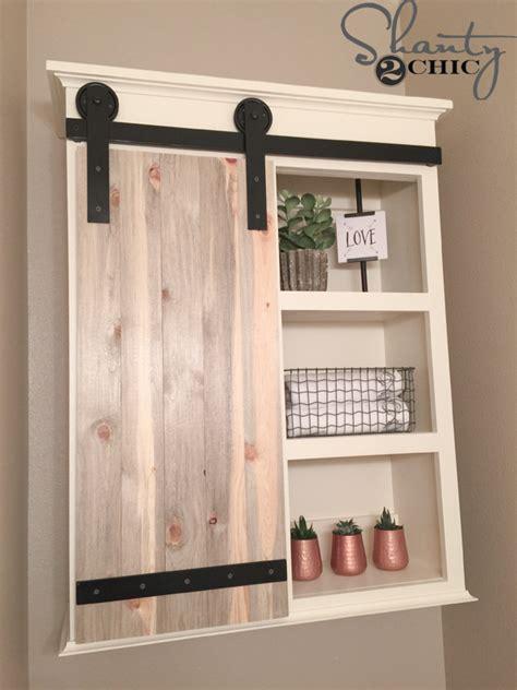 bathroom cabinet storage ideas diy sliding barn door bathroom cabinet shanty 2 chic