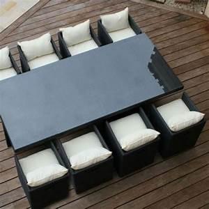 Table De Jardin Tressé : salon de jardin resine tressee avec 8 fauteuils encastrables noir ~ Teatrodelosmanantiales.com Idées de Décoration