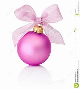 Boule De Rose : boule rose de no l avec l 39 arc de ruban d 39 isolement sur le fond blanc photo stock image 46391855 ~ Teatrodelosmanantiales.com Idées de Décoration