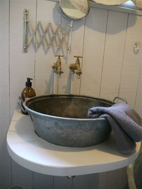 great galvanized vessel sink nice rustic bathroom touch