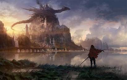 Fantasy Dragon Castle Knight Wallpapers Painting Cape
