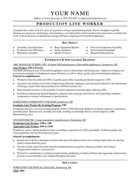 assembly line worker resume sle resume assembly line
