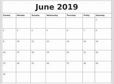 June 2019 Printable Calendar Pages