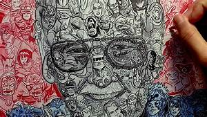 """Drawing """"Stan Lee"""" with over 100 Marvel Characters - YouTube"""