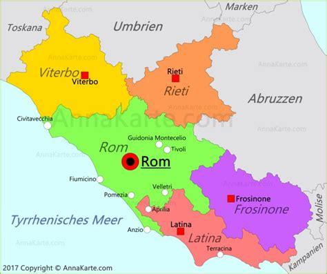 latium karte italien annakartecom