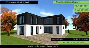 maison container modulaire ossature bois d architecte With plan gratuit de maison 9 maison container modulaire ossature bois d architecte