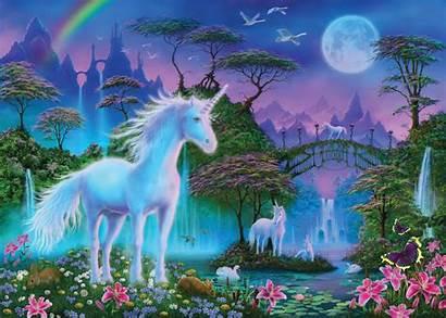 Unicorn Bridge Wallsauce Mural Painting Unicorns Fantasy