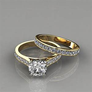 Cathedral engagement ring and wedding band set for Wedding rings bands