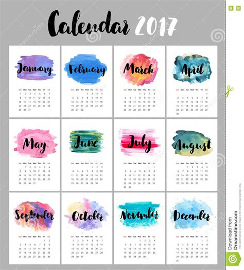 calendar month template hand calendar 2017 with watercolor stains stock vector image