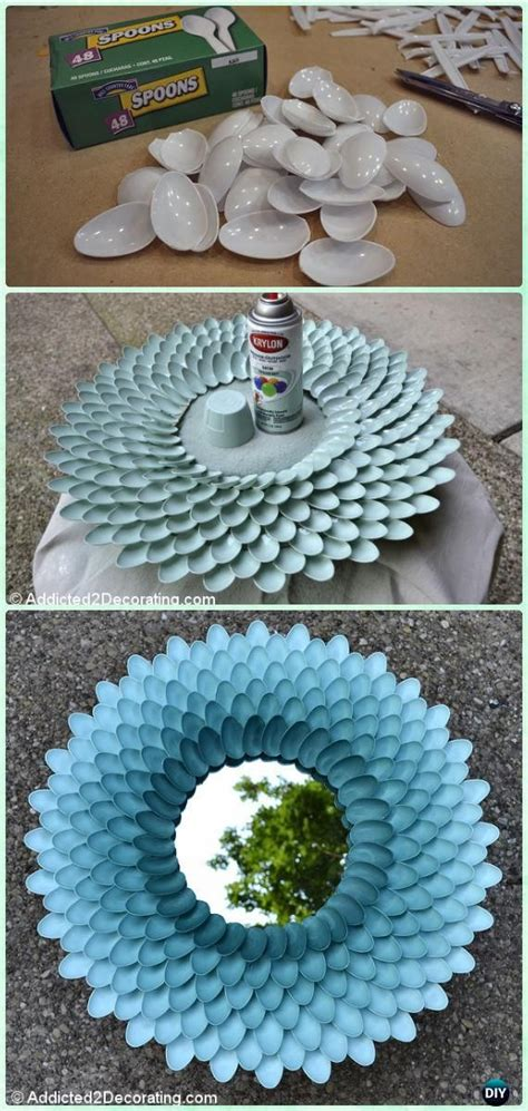 Paste a mirror on a circular cardboard marking 10 cm on the divider. DIY Plastic Spoon Mirror Frame Instructions-DIY Decorative Mirror Frame Ideas and Projects ...