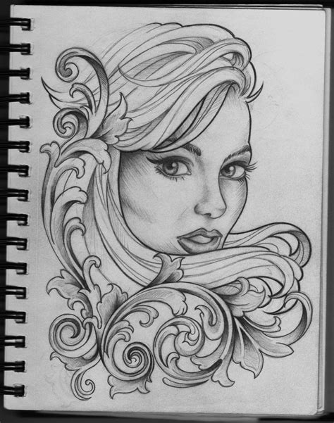 Woman and Filigree tattoo design by ~Frosttattoo on ...
