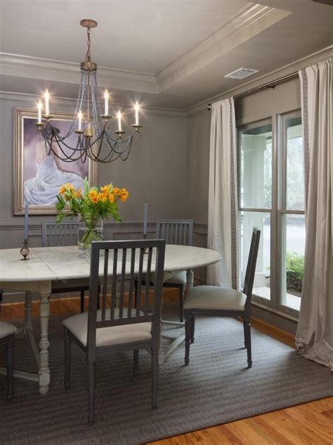 traditional gray dining room  antique chandelier hgtv