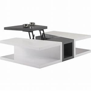 Table Basse Blanc Gris : table basse design laque blanc et gris anthracite plateau relevable achat vente table basse ~ Teatrodelosmanantiales.com Idées de Décoration