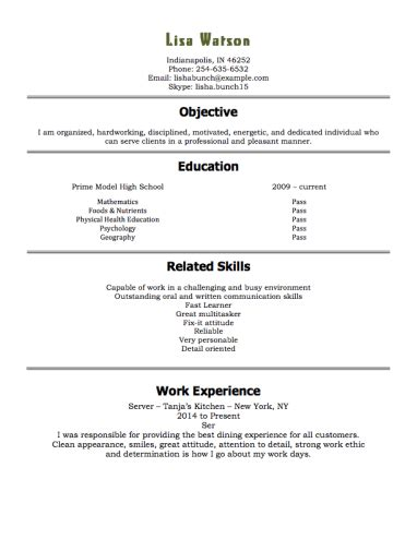 example of restaurant resume 12 free high school student resume examples for teens