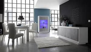 salle a manger design laquee blanche mat gris beton rosine With salle a manger blanche et grise