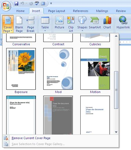 how to easily make an attractive cover page in ms word 2007