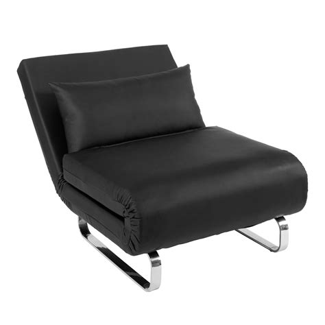 stylus faux leather chair bed black dwell