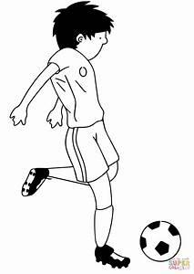 Cartoon Soccer Player Kicking Ball coloring page | Free ...