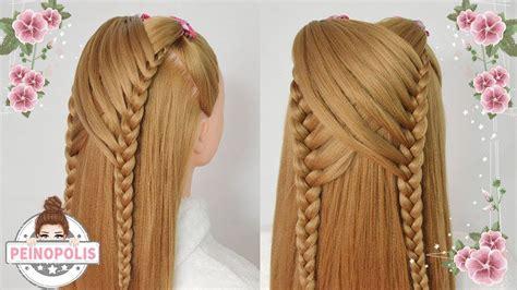 peinados faciles  rapidos  ninas  trenzas  cabello largo youtube