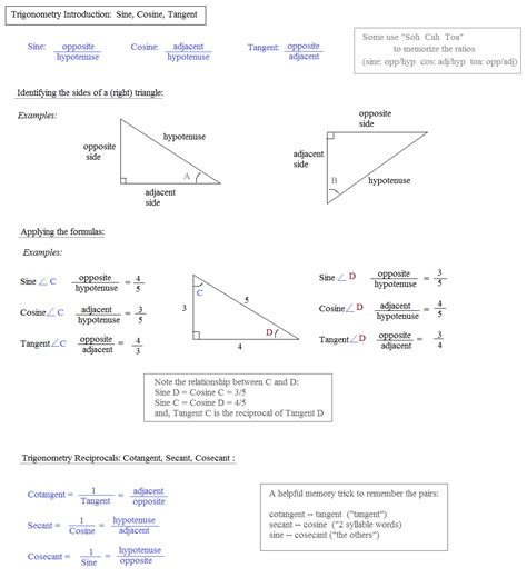 sine cosine tangent worksheet worksheets for all