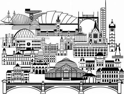Landmarks Glasgow Maps Isochrone Alcuni Edifici Buildings