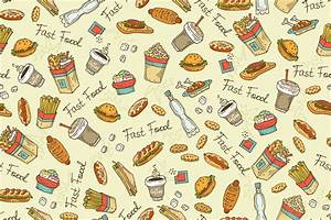 Pattern with hand drawn fast food ~ Patterns on Creative ...