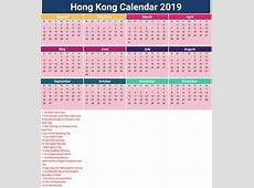 2019 Calendar Hong Kong month printable calendar