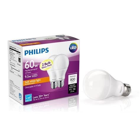 philips a19 dimmable led l 2 pack philips 60w 9 5w soft white a19 led light