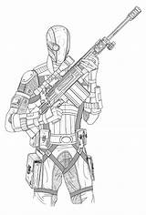 Coloring Deathstroke Deadshot Sketch Batman Knight Arkham Suicide Squad Deviantart Template Credit Larger sketch template