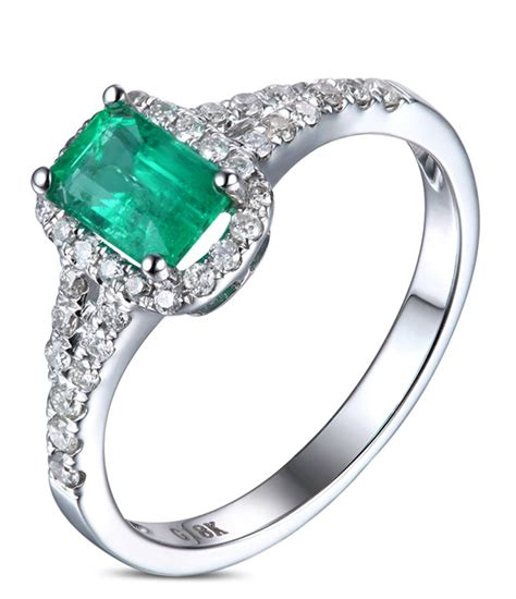 emerald engagement rings 1 50 carat emerald and halo engagement ring in white gold for jeenjewels
