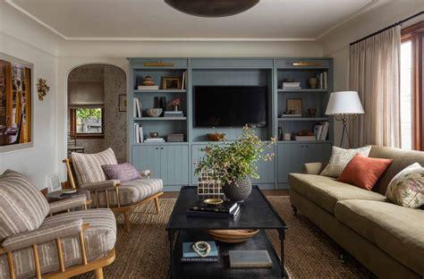 heidi caillier design seattle interior designer  tudor printed floral chair green roll arm