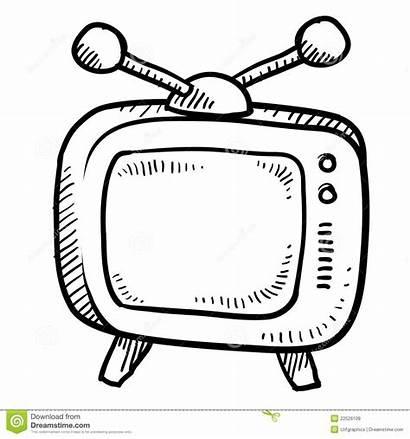 Television Retro Sketch Doodle Icon Royalty Illustration