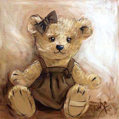 stickers nounours pour chambre bébé peinture vieil ours vente tableau ourson fille marron