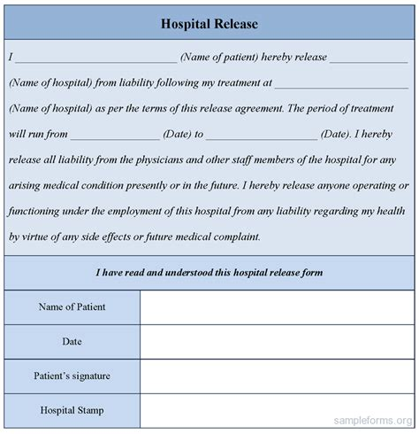 15419 hospital release form hospital release form sle forms