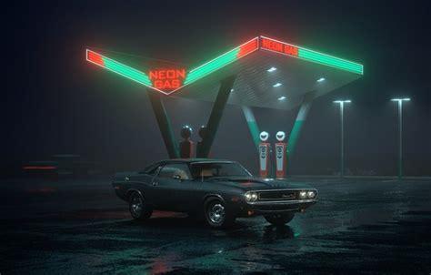wallpaper car dodge challenger night neon rt gas