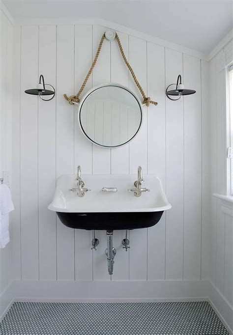 kohler wall hung faucet black and white cottage bathroom with mirror