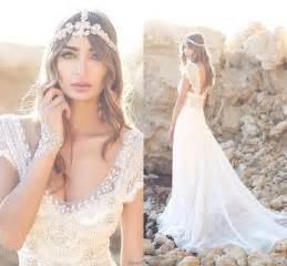 boho brautkleid 2016 new bohemian lace wedding dresses 2015 beaded top sleeves v neck chiffon