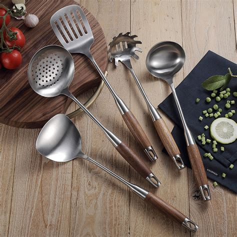 utensil kitchen cooking tool stainless steel sets wood handle spoon pasta kitchenware turner cookware server 5pcs utensils ladle accessory pot